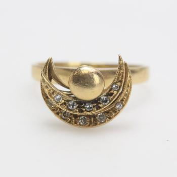 14kt Gold 3.02g Spin Ring With Clear Stones