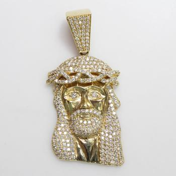14kt Gold 40.80g Religious Pendant With Diamond Accents