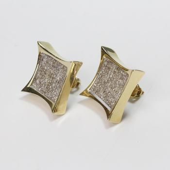 14kt Gold 4.75ct TW Princess Cut Diamond Earrings - Evaluated By Independent Specialist