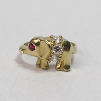 14kt Gold 4g Elephant Ring With Red And Clear Stones
