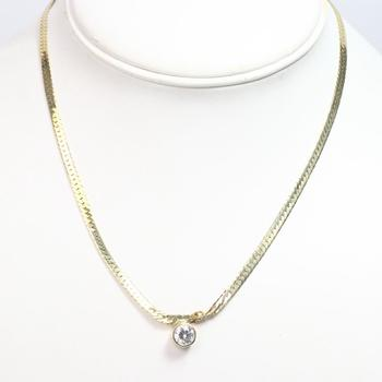 14kt Gold 8.17g Necklace With Clear Stone