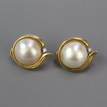14kt Gold 8.54g Pearl Earrings With Diamonds