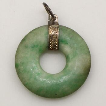 14KT Gold Accent Green Stone Pendant