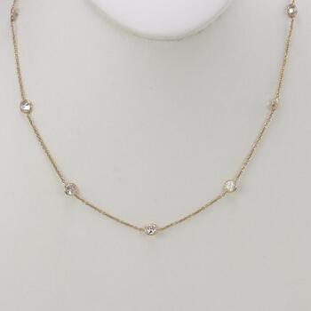 14kt Gold Clear Stone Necklace