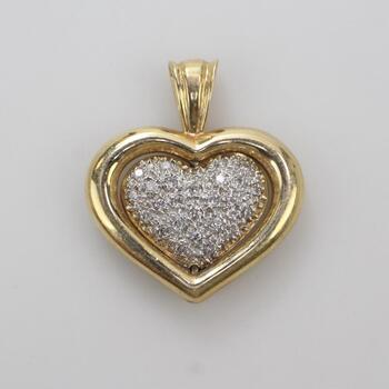 14kt Gold Diamond Accent Heart Pendant 6.84g