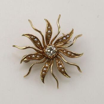 14KT Gold Diamond And Pearl Sun Pin