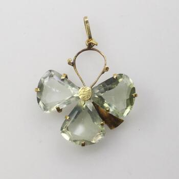 14KT Gold Green Stone Flower Pendant