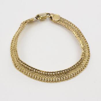 14kt Gold Wide Woven Link Bracelet