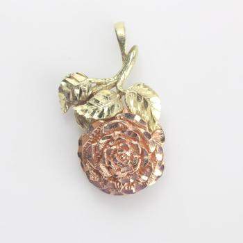 14kt Two-toned Gold 5g Rose Pendant