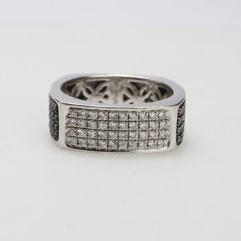 14kt White Gold 11.24g Ring With Diamond Accents And Black Stones