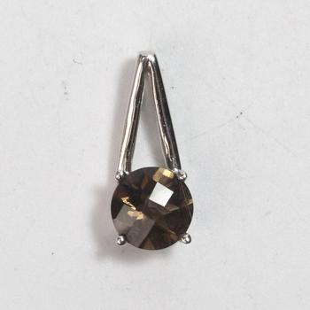 14kt White Gold 1.36g Pendant With Brown Stone