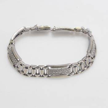 14kt White Gold 20.67g Bracelet With Clear Stones