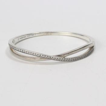 """15.79g Silver Pandora """"Entwined"""" Bangle Bracelet With Clear Stones"""