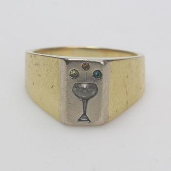 17k Gold 14.90g Ring With Diamond And Multicolored Stones