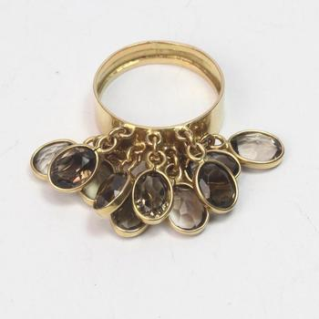 17k Gold 7.51g Ring With Brown Stones