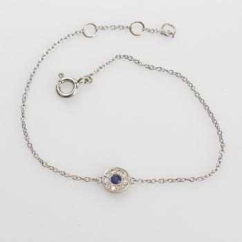 17k White Gold 1.24g Bracelet With Blue And Clear Stone Pendant