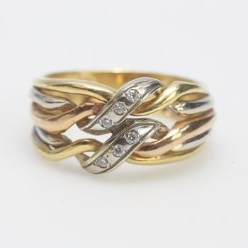 17kt Tri Tone Gold 5.70g Ring With Clear Stones