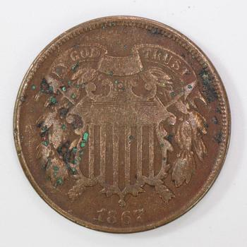 1867 US 2 Cent Coin