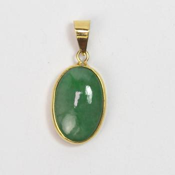 18k Gold 2.91g Pendant With Green Stone