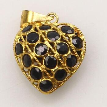 18k Gold Blue Stone Heart Pendant