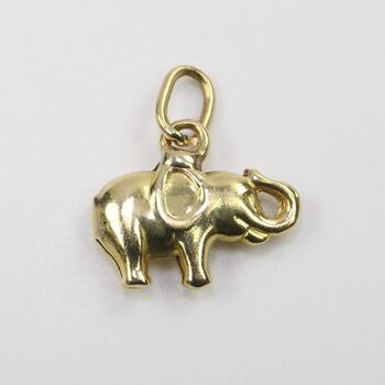 18kt Gold Puffy Elephant Pendant