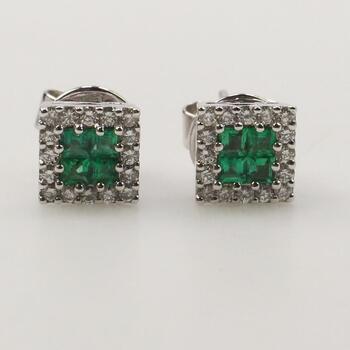 18KT White Gold Diamond And Green Stone Earrings