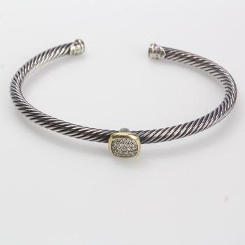 19.28g Silver And 10k Gold David Yurman Bracelet With Diamonds