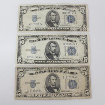 1934A Five Dollar Silver Certificate Bills, 3 Pieces