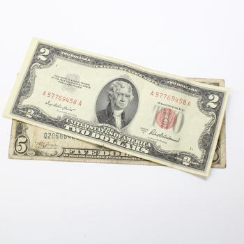 1934-C Blue Seal Lincoln $5 Bill And 1953-A Red Seal Jefferson $2 ...