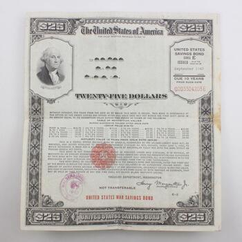1943 $25 US Savings Bond Series E