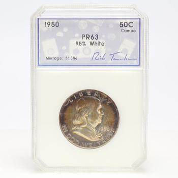 1950 Proof Franklin Silver Half Dollar In PCI Holder