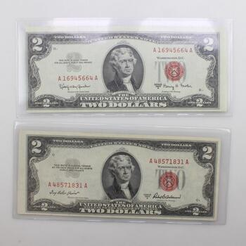 1953-A & 1963-A $2 Red Seal Notes, 2 Pieces