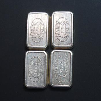 1981 Anaheim Metal Co 1 Troy Oz .999 Silver Bars, 4 Pieces