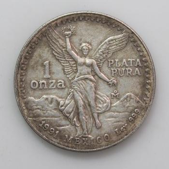 1991 1 Oz. 999. Fine Silver Mexican Libertad
