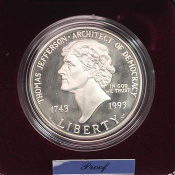 1993 Thomas Jefferson 250th Anniversary Silver Dollar Proof With COA