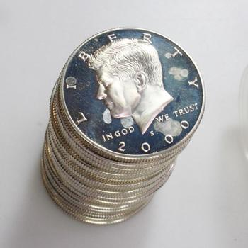 2000-S Silver Proof Kennedy Half Dollars, 20 Coins In Tube