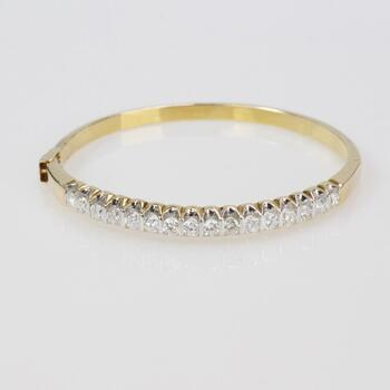 2.00ct TW Diamond 14k Gold Bangle Bracelet - Evaluated By Independent Specialist
