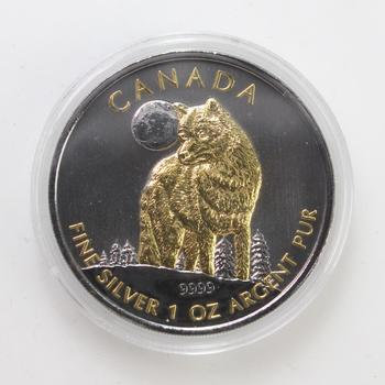 2011 Black Ruthenium & 24kt Gold Plated .999 Fine Silver 1 Oz $5 Canada Wolf Coin