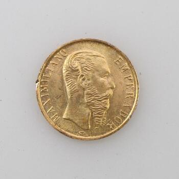 20k Gold 1865 Maximiliano Mexican Coin