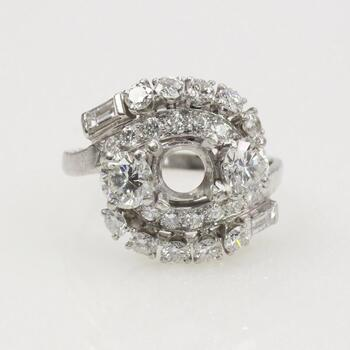 2.16ct TW Diamond Platinum Semi Mount Ring - Evaluated By Independent Specialist