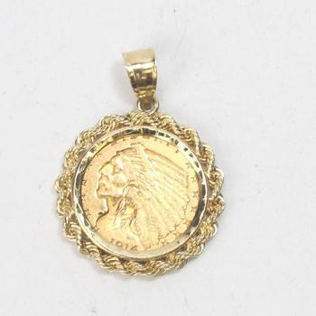 21k Gold 6.45g Indian 2 1/2 Dollar Coin Pendant