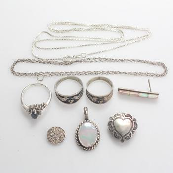 23.69g Silver Jewelry, 9 Pieces