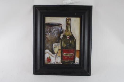 "24"" X 19"" Wide Framed Print: Champagne Art"