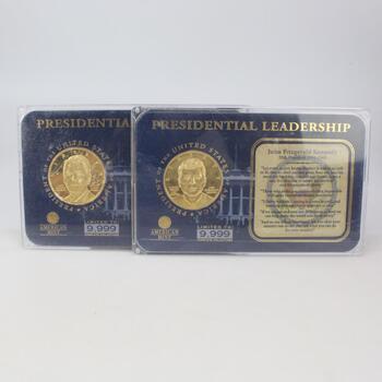 24k GP Presidential Leadership Commemorative Coin, 2 Pieces
