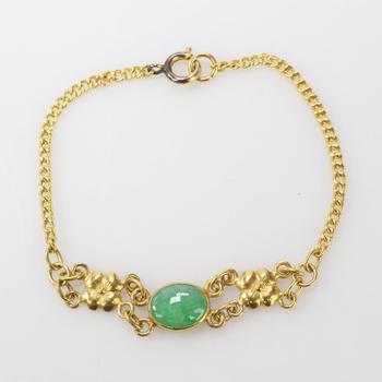 24kt Gold 7.72g Bracelet With Green Stone