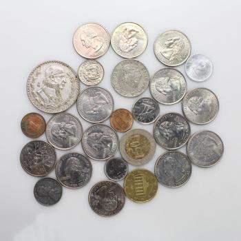 25 Assorted US And Foreign Coins