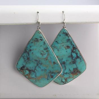 27.94g Silver Earrings With Blue-Green Stones