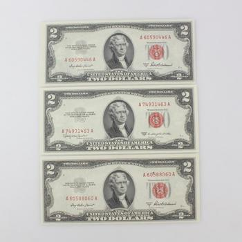 3 Red Seal $2 Notes