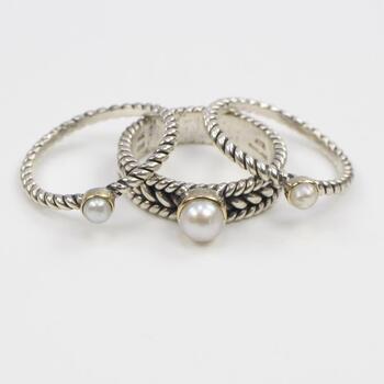 3 Sterling Silver Pearl Rings