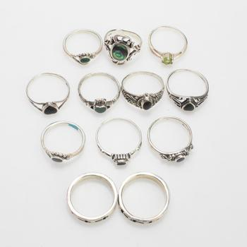 30.31g Silver Rings, 12 Pieces